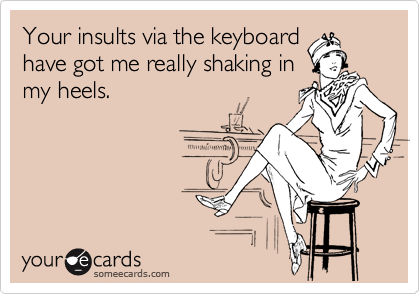 Your insults via the keyboard have got me really shaking in my heels.