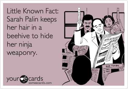Little Known Fact: Sarah Palin keeps her hair in abeehive to hideher ninjaweaponry.