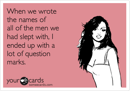 When we wrotethe names ofall of the men wehad slept with, Iended up with alot of questionmarks.