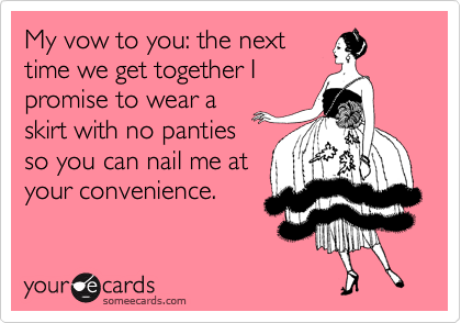 My vow to you: the next time we get together I promise to wear a skirt with no panties so you can nail me at your convenience.