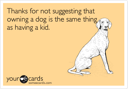 Thanks for not suggesting that owning a dog is the same thing 