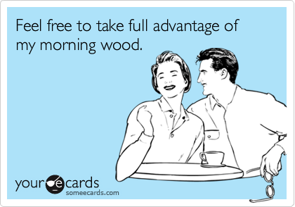 Feel free to take full advantage of my morning wood.