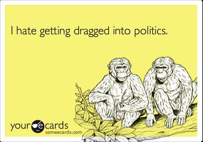 I hate getting dragged into politics.