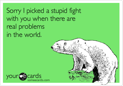 Sorry I picked a stupid fight 