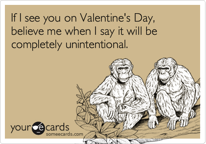If I see you on Valentine's Day, believe me when I say it will be completely unintentional.