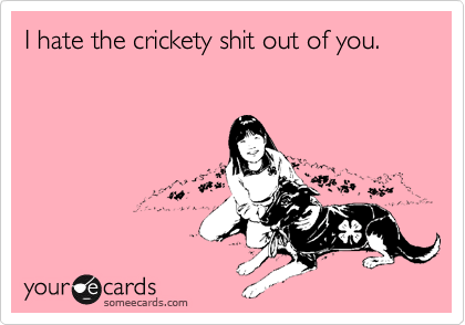 I hate the crickety shit out of you.