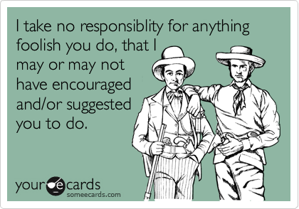 I take no responsiblity for anything foolish you do, that I may or may not have encouraged and/or suggested you to do.
