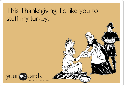This Thanksgiving, I'd like you to stuff my turkey.