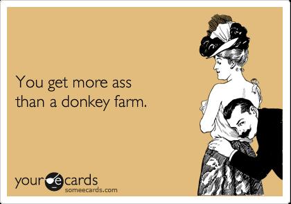 You get more ass than a donkey farm.