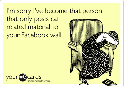I'm sorry I've become that person that only posts cat  related material to your Facebook wall.