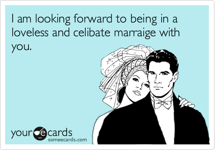 I am looking forward to being in a loveless and celibate marraige with you.