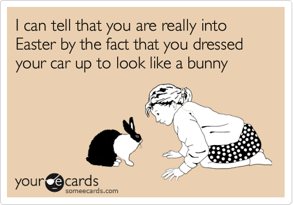 I can tell that you are really into Easter by the fact that you dressed your car up to look like a bunny