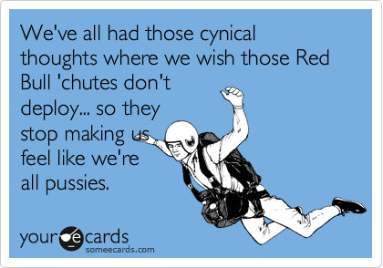 We've all had those cynical thoughts where we wish those Red Bull 'chutes don't deploy... so they stop making us feel like we're all pussies.