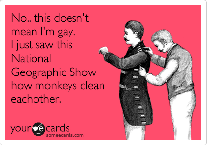 No.. this doesn't mean I'm gay. I just saw this National Geographic Show how monkeys clean eachother.