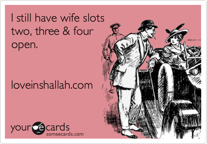 I still have wife slots two, three & four open.         loveinshallah.com