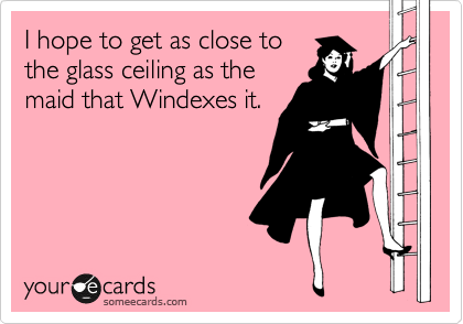 I hope to get as close to the glass ceiling as the maid that Windexes it.