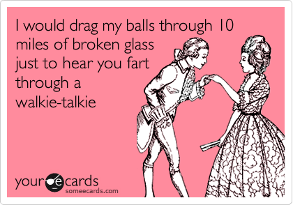 I would drag my balls through 10 miles of broken glass just to hear you fart through a walkie-talkie