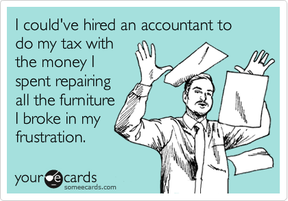 I could've hired an accountant to do my tax with the money I spent repairing all the furniture I broke in my frustration.