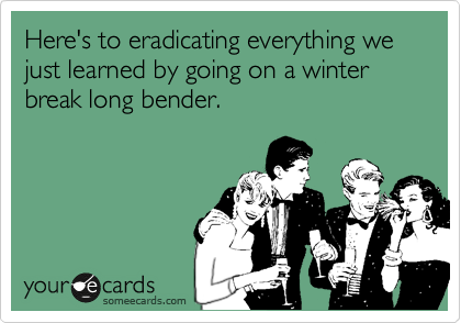 Here's to eradicating everything we just learned by going on a winter  break long bender.