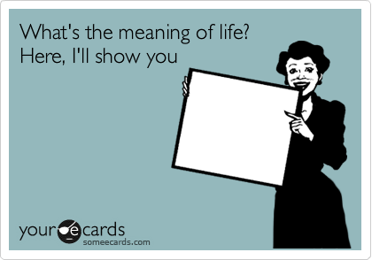 What's the meaning of life? Here, I'll show you