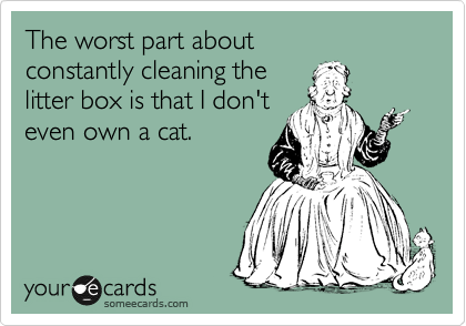 The worst part about  constantly cleaning the  litter box is that I don't even own a cat.