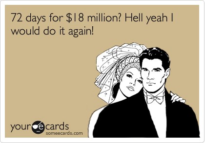 72 days for %2418 million? Hell yeah I would do it again!