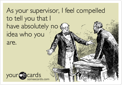 As your supervisor, I feel compelled to tell you that I have absolutely no idea who you are.