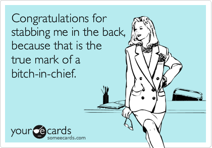 Congratulations for stabbing me in the back, because that is the true mark of  an executive bitch.