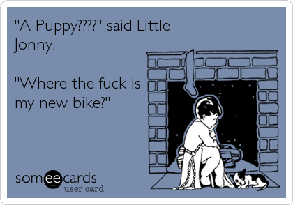 """A Puppy????"" said Little Jonny.  ""Where the fuck is my new bike?"""