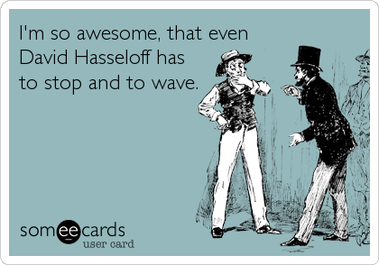 I'm so awesome, that even David Hasseloff has to stop and to wave.