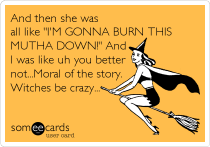 "And then she was  all like ""I'M GONNA BURN THIS MUTHA DOWN!"" And I was like uh you better not...Moral of the story. Witches be crazy..."