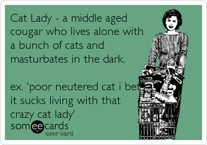 Cat Lady - a middle aged cougar who lives alone with a bunch of cats and masturbates in the dark.  ex. 'poor neutered cat i bet it sucks living with that crazy cat lady'