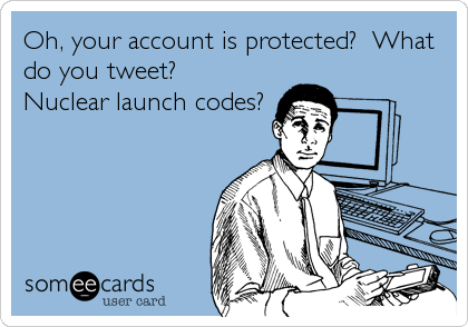 Oh, your account is protected?  What do you tweet?  Nuclear launch codes?