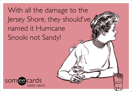 With all the damage to the Jersey Shore, they should've named it Hurricane Snooki not Sandy!