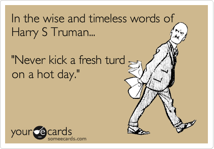 "In the wise and timless words of Harry S Truman...  ""Never kick a fresh turn on a hot day."""