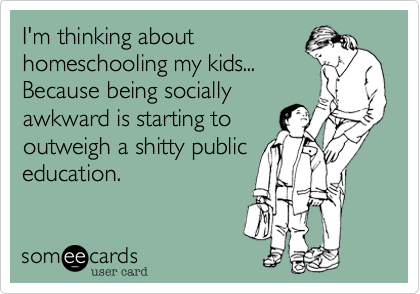 I'm thinking about homeschooling my kids... Because being socially awkward is starting to outweigh a shitty public education.