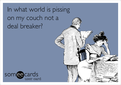 In what world is pissing on my couch not a deal breaker?
