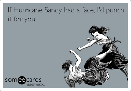 If Hurricane Sandy had a face, I'd punch it for you.