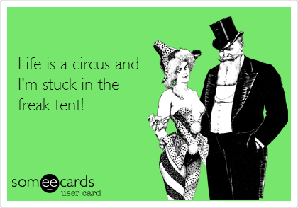 Life is a circus and I'm stuck in the freak tent!