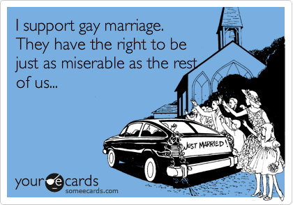 I support gay marriage.