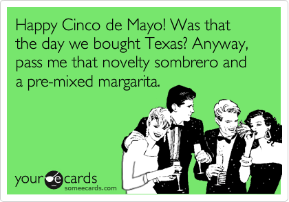 Happy Cinco de Mayo! Was that the day we took Texas? Anyway, pass me that novelty sombrero and a premixed margarita.