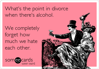 What's the point in divorce when there's alcohol.   We completely forget how much we hate each other.