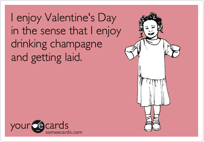 I enjoy Valentine's Day in the sense that I enjoy drinking champagne and getting laid.