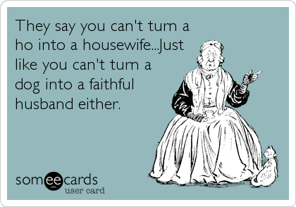 They say you can't turn a ho into a housewife...Just like you can't turn a dog into a faithful husband either.