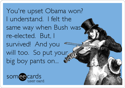 You're upset Obama won? I understand.  I felt the same way when Bush was re-elected.  But, I survived!  And you will too.  So put your big boy pants on...
