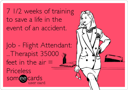 7 1/2 weeks of training to save a life in the event of an accident.   Job - Flight Attendant: ...Therapist 35000 feet in the air = Priceless