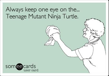Always keep one eye on the...  Teenage Mutant Ninja Turtle.