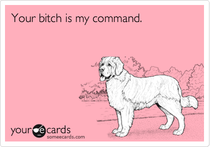 Your bitch is my command.