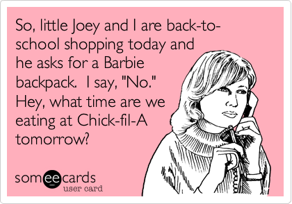 So, little Joey and I are back-to-school shopping today and