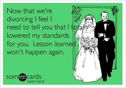 Now that we're divorcing I feel I need to tell you that I totally lowered my standards  for you.  Lesson learned won't happen again.
